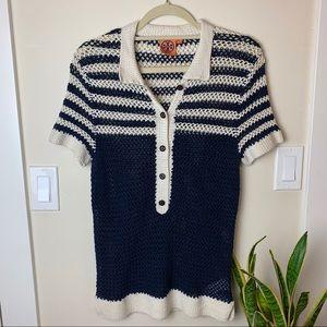 Tory Burch Long Line Open Weave Crochet Polo